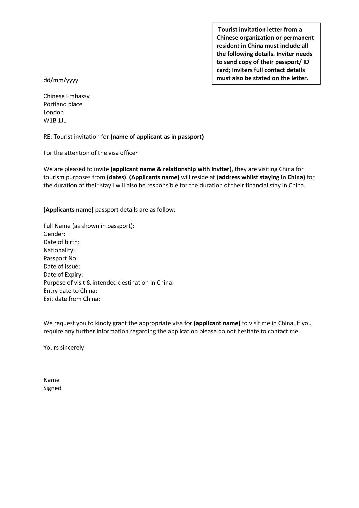 How To Write A Letter Of Visa Application within Letter Of