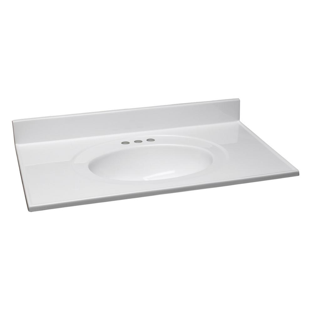 Design House 25 In W Cultured Marble Vanity Top In White With