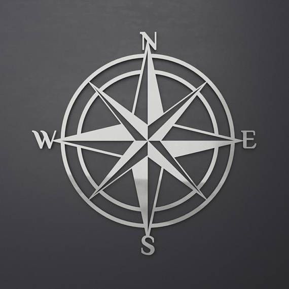 Nautical Stainless Steel Compass Rose Metal Wall Art Home Decor