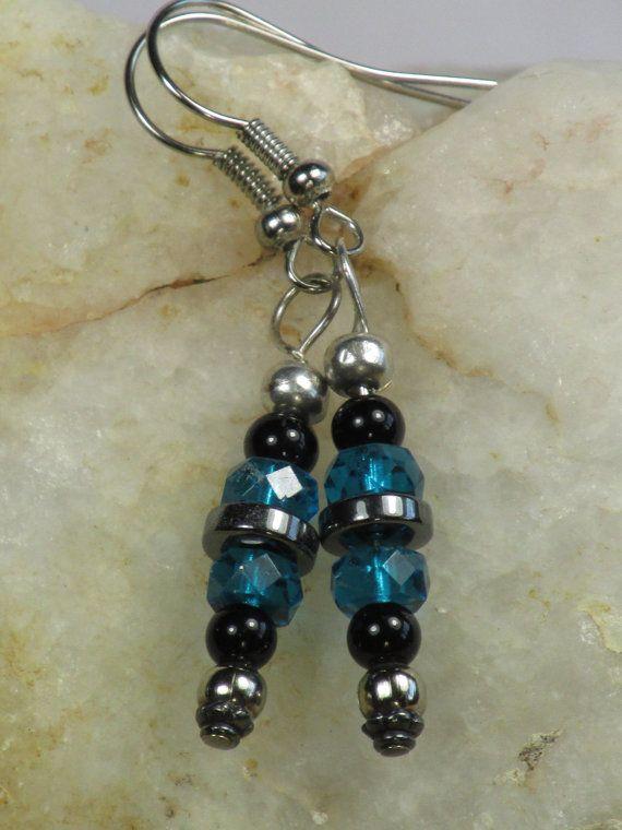 Teal Glass Hematite Earrings Faceted Blue Black by AribellaJewelry