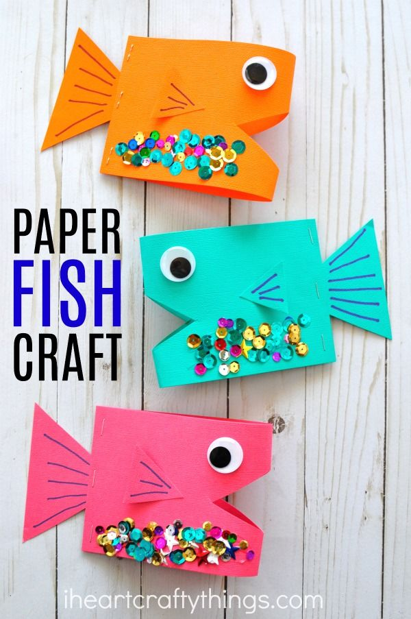 Super cute paper fish craft paper fish ocean crafts and for Cute paper crafts