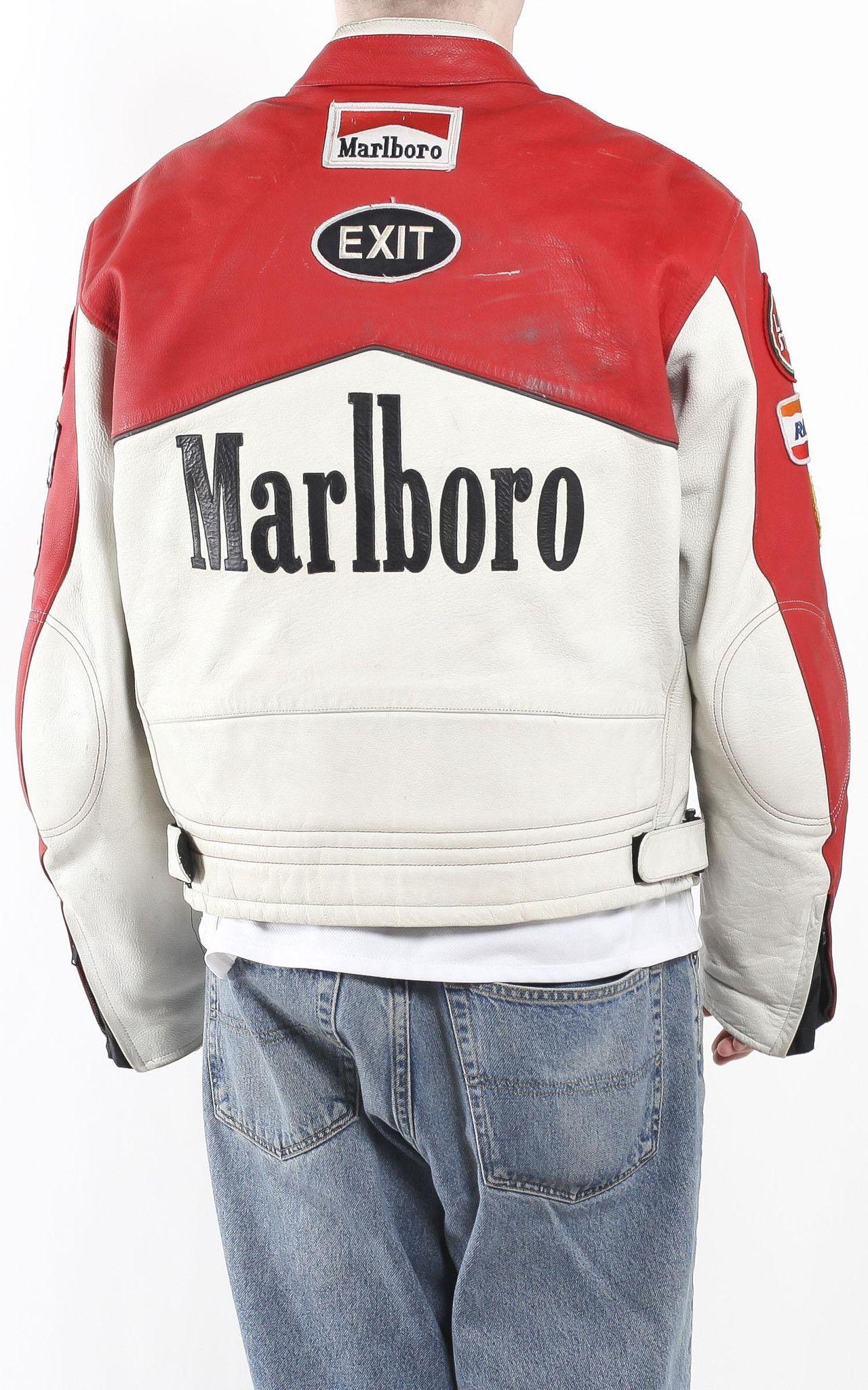 Vintage Marlboro Racing Leather Motorcycle Jacket Sz Xxl Vintage Leather Jacket Grunge Chic Fashion