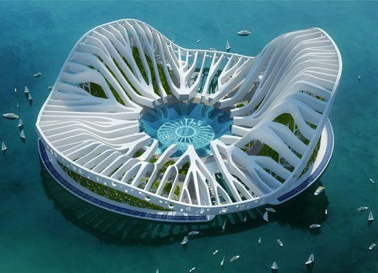 Famous Living Architects urban sustainable architecture, floating arcology concepts for