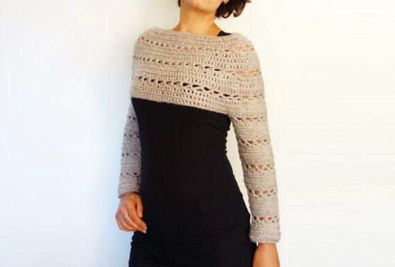 Crochet Pattern Caramel Cropped Sweater/ Chunky Knit | sweteres tej ...