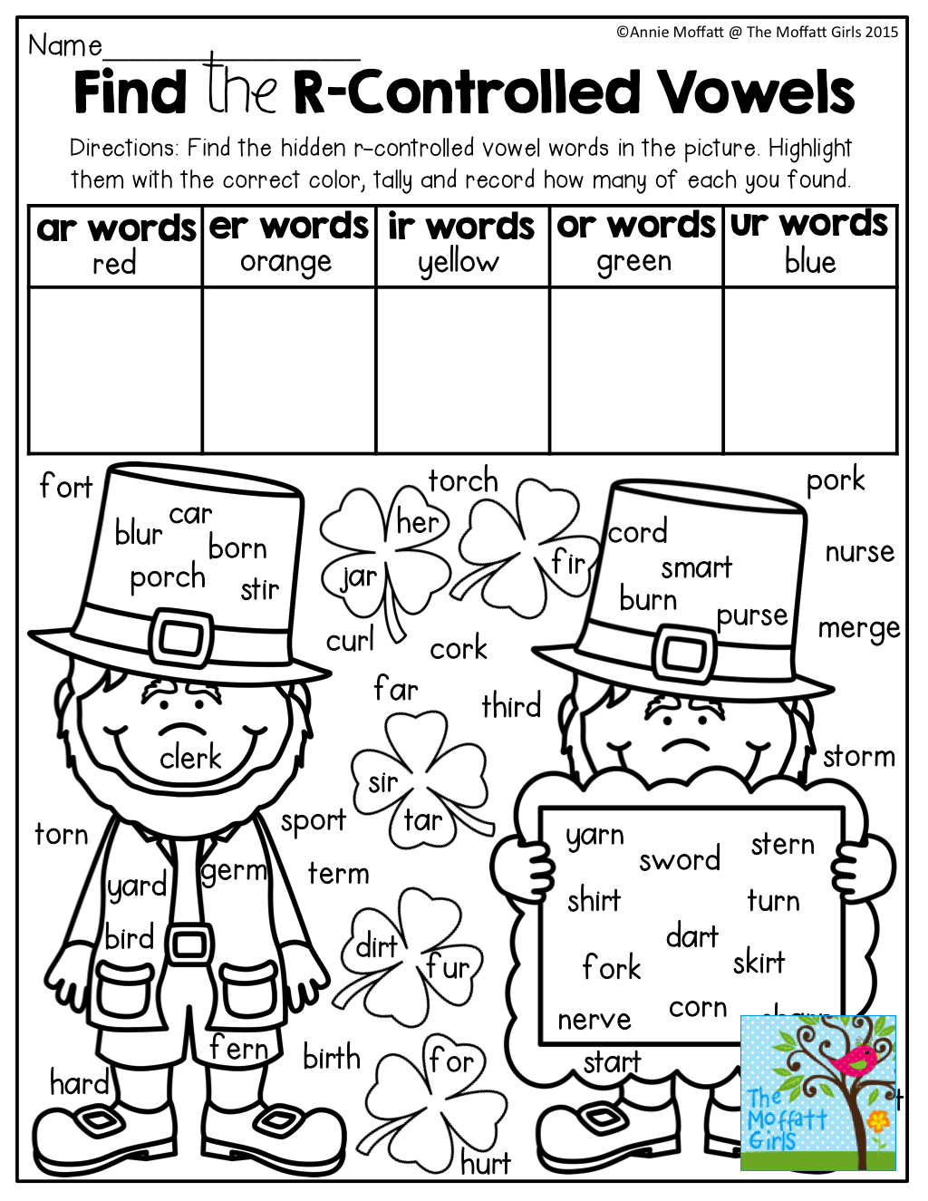 Find And Tally The R Controlled Vowel Words Tons Of Great Printables That Require No Prep