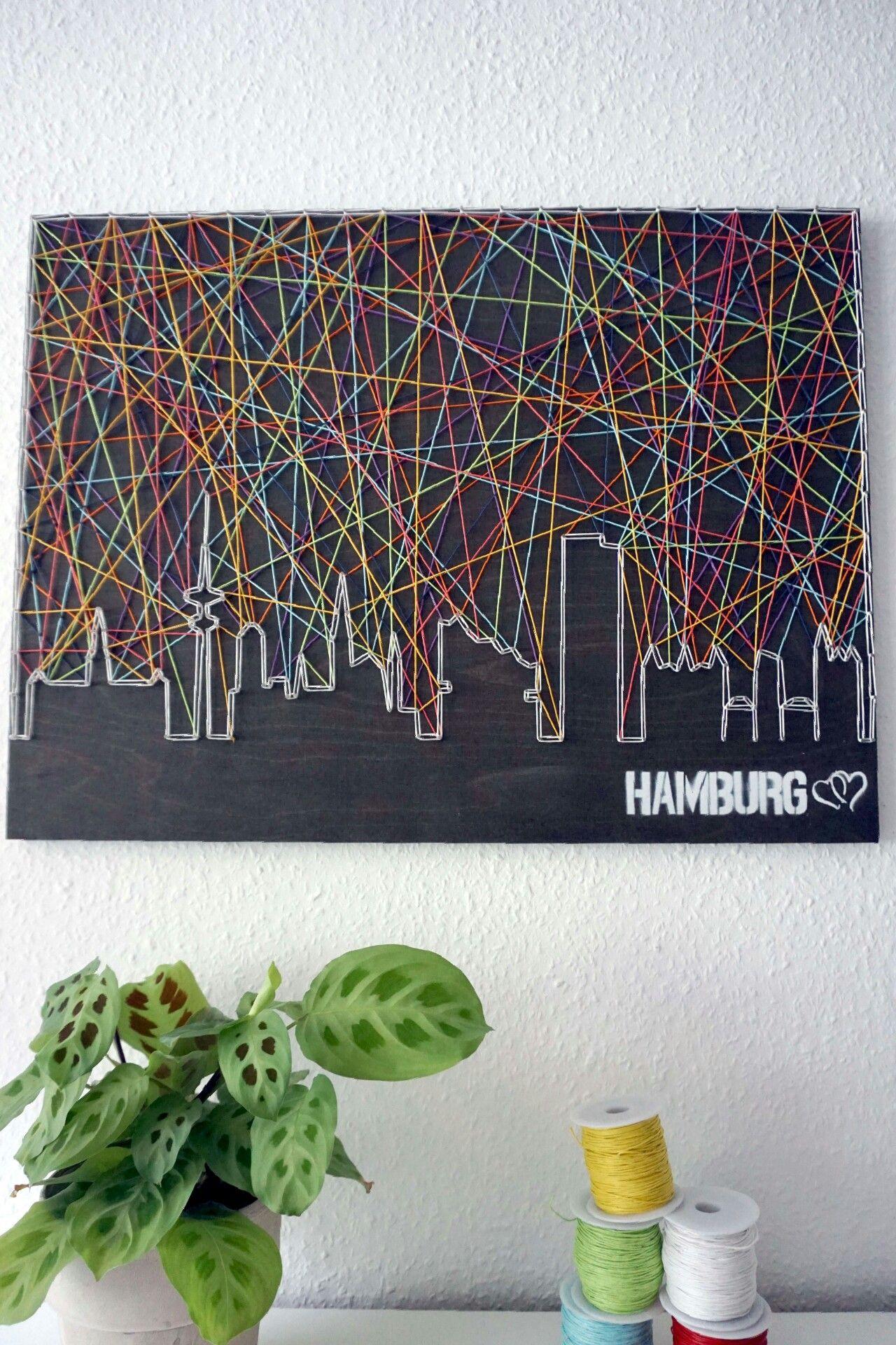 Skyline Hamburg mit Herz | Schnürstück Skyline stringart | Pinterest ...