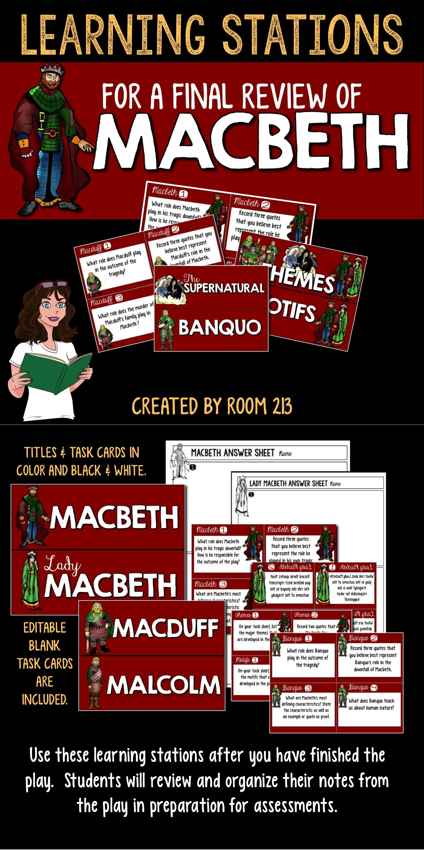 Macbeth Learning Station Great For A Final Review Of The Play Let Student Independently De Teaching Drama Shakespeare Act 3 Scene 1 Analysis