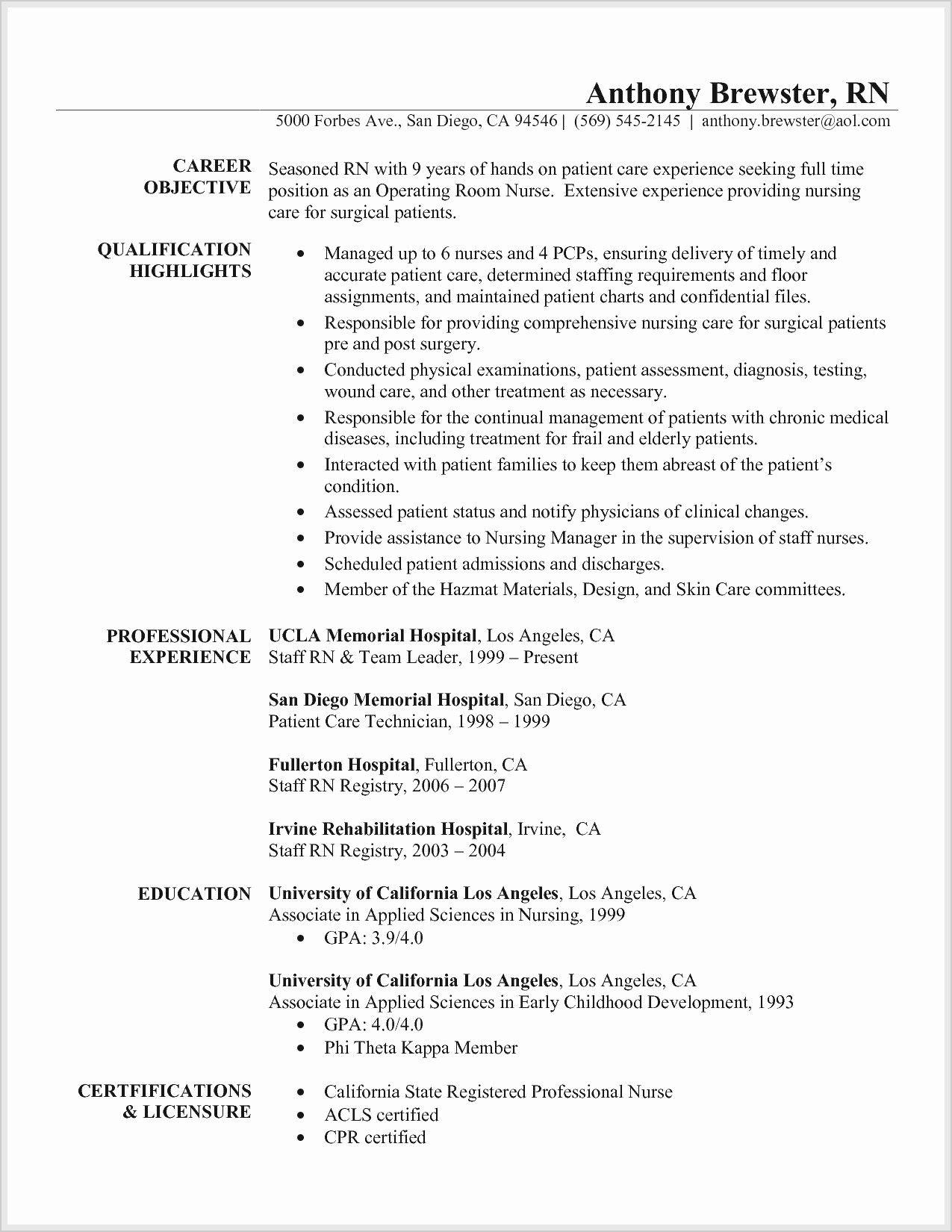 Registered Nurse Resume lettersampel letterformat