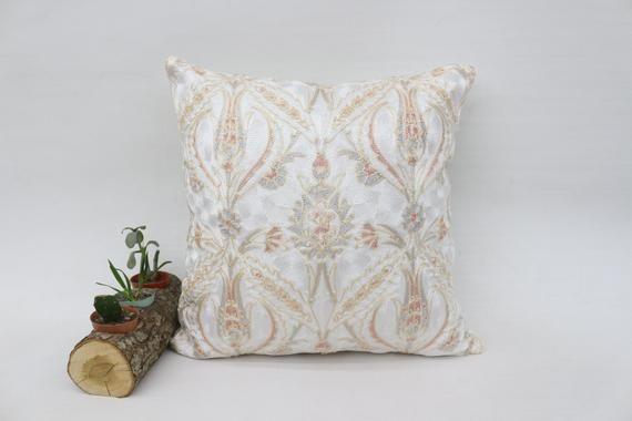 Silk Pillow, Natural Pillow, Turkish Gift Pillow, Decor Embroidered Pillow, Off White Pillow, Pillow