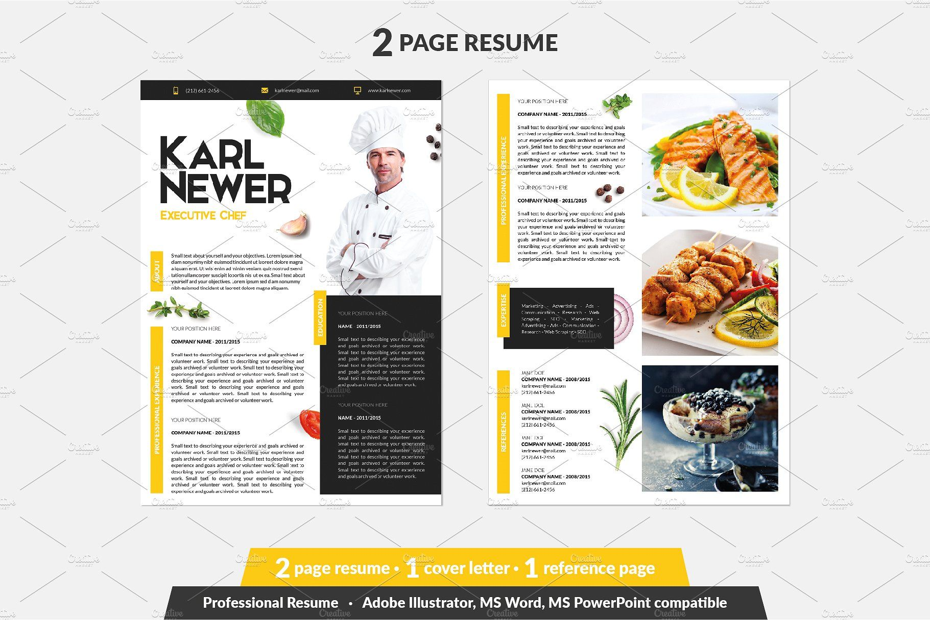 Executive Chef Resume Template Chef Resume Cover Letter For Resume Resume Template