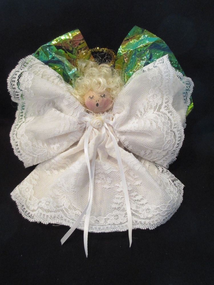 Vtg Xmas Wooden Doll Angel Ornament Lace Dotted Swiss Cellophane