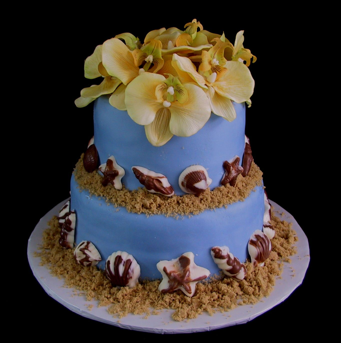 Fondant Seashell Birthday Cake With Orchids Perfect For Your Next