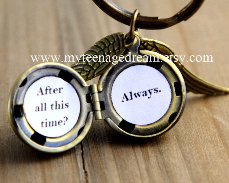 Harry potter Enchanted Golden Snitch ball Steampunk locket ball with Double Sided Brass Wings keychain. $4.99, via Etsy.