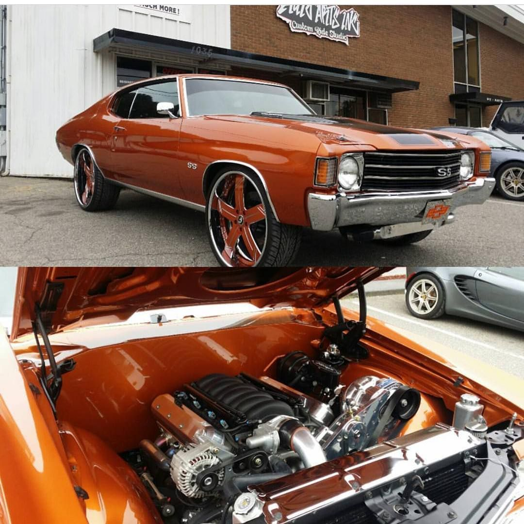 72 Chevelle Burnt Orange Procharger Ls Swap 24 Inch Wheels