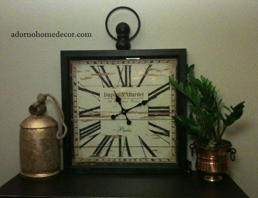 Details about Large Metal Square Wall Clock PARIS RUSTIC ...