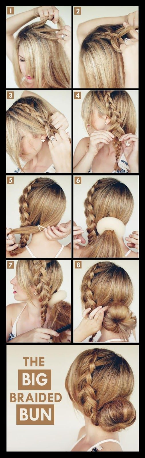 Make a big braided bun for your self hairstyles tutorial