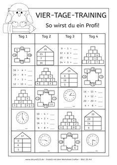 Vier-Tage-Mathe-Training (Zahlenraum bis 20) -   Training, Mathe und ...