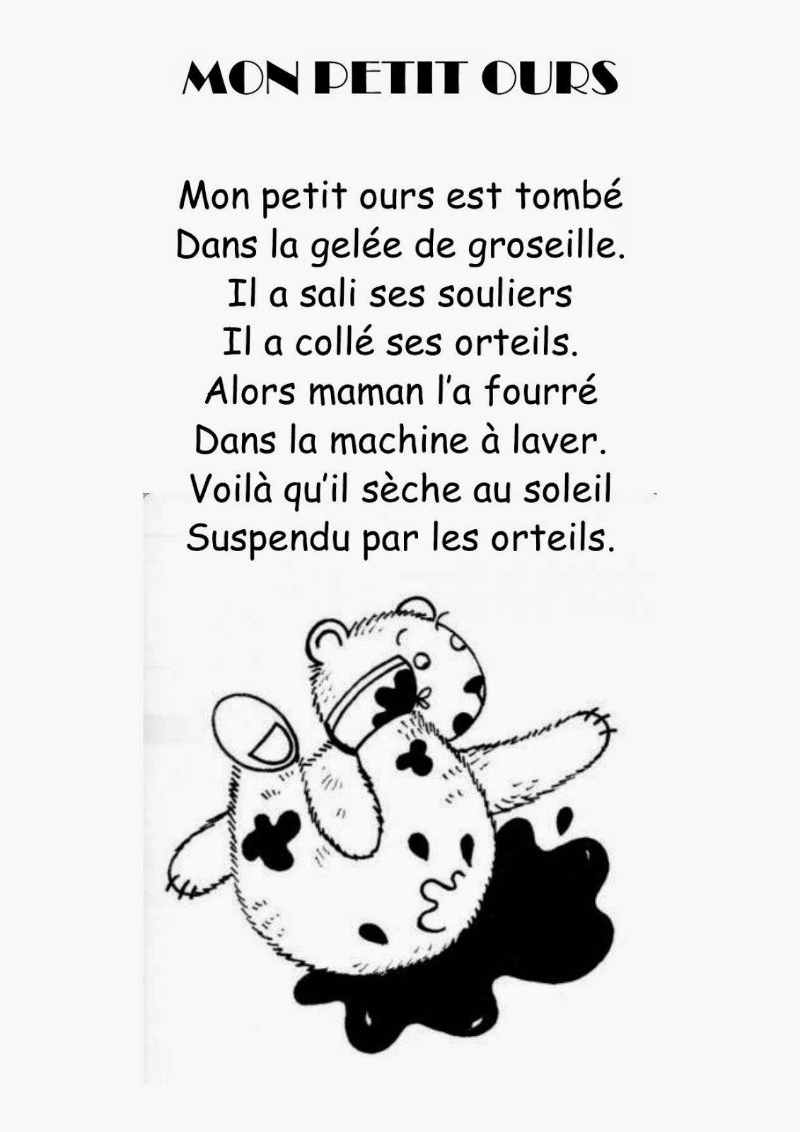 Comptine 21 mon petit ours boucle d 39 or french poems - Petit ours va a l ecole ...