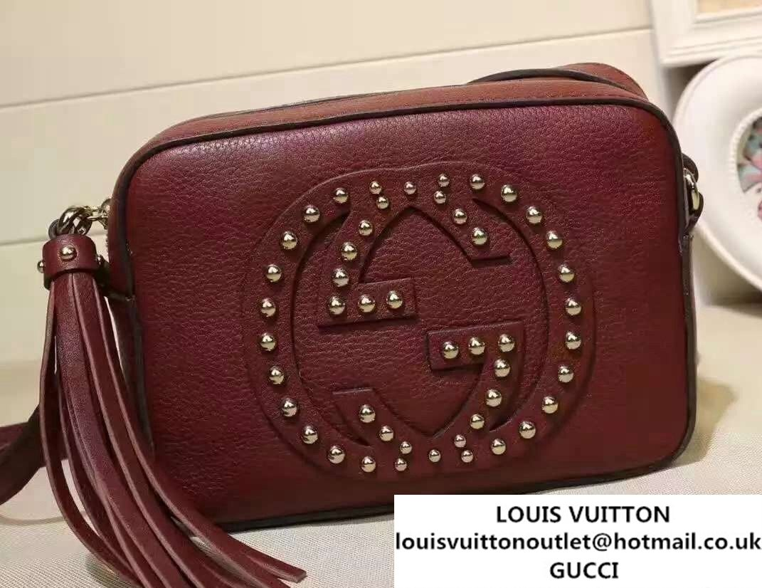 a2ae45675d95a6 Gucci Soho Studded Leather Disco Small Bag 308364 Burgundy | Gucci ...