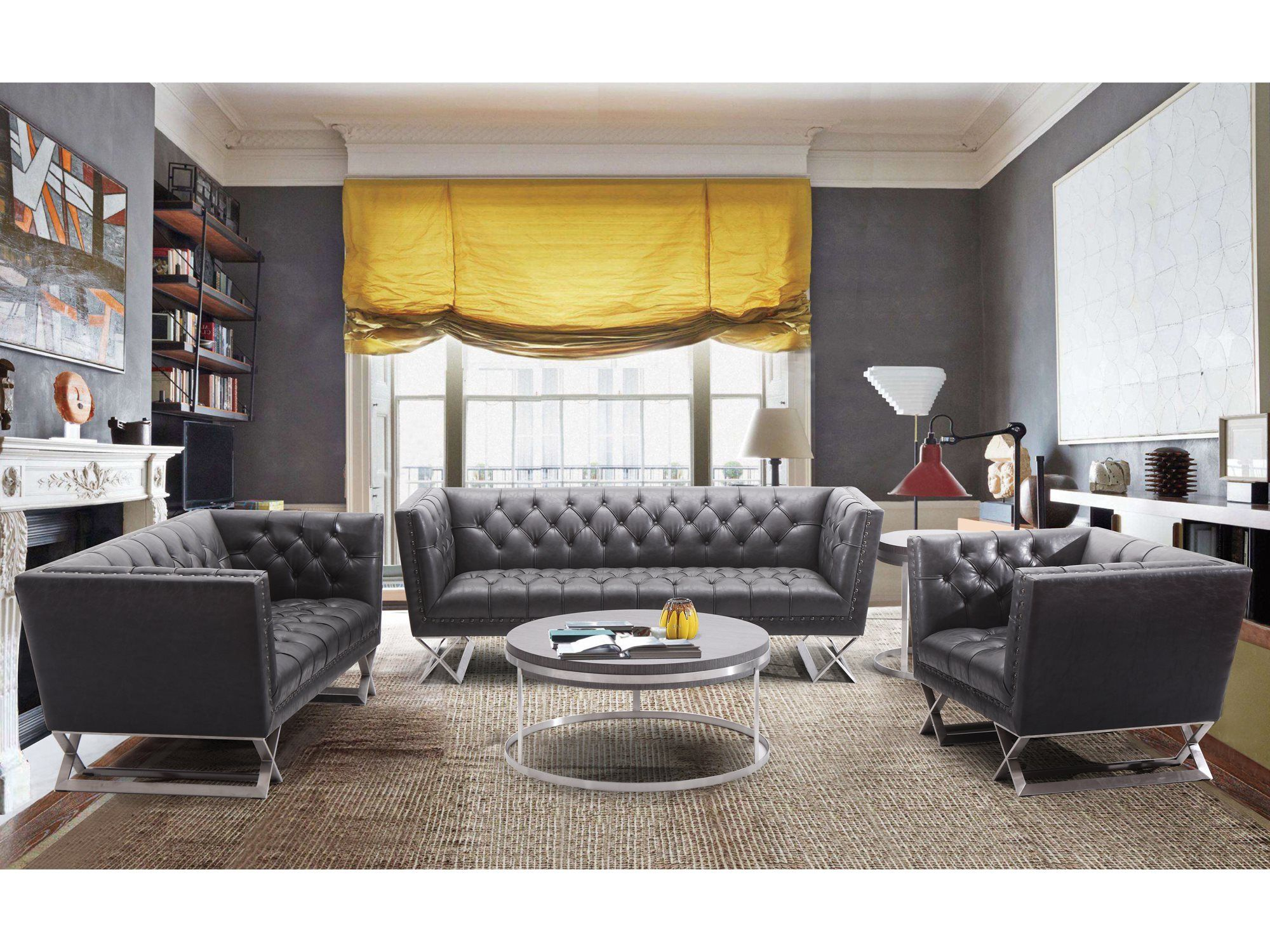Best Armen Living Odyssey Vinatge Black Living Room Set Black 640 x 480