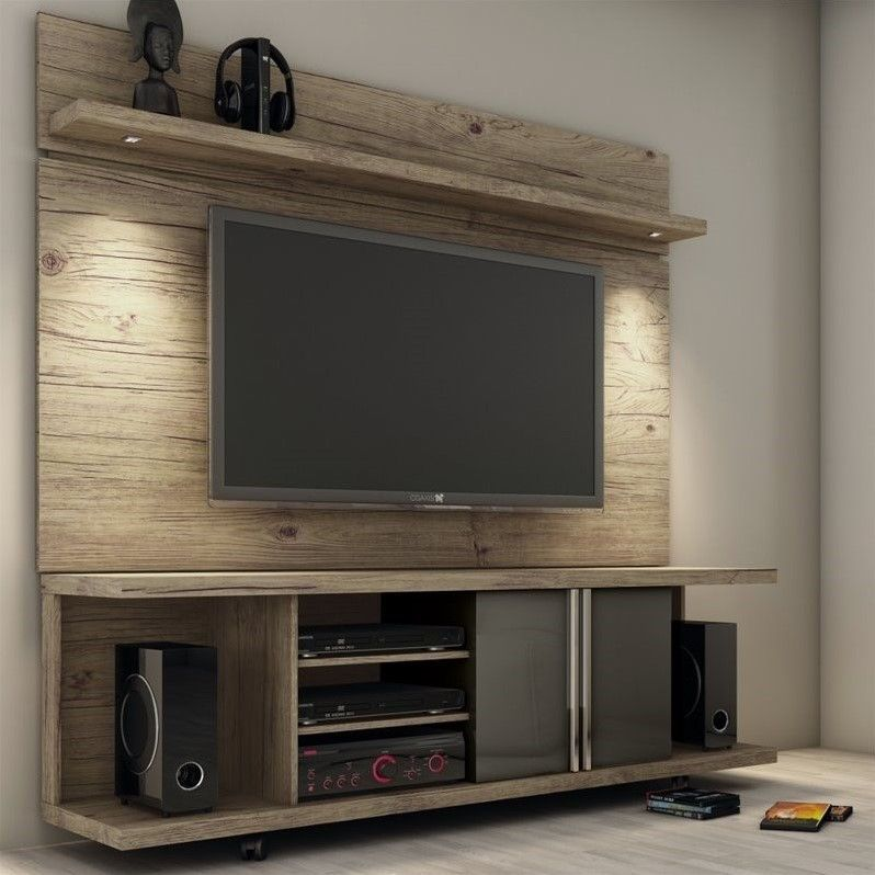 "Amato Manhattan Comfort 71"" TV Stand and Panel in Natural and Onyx  GE45"