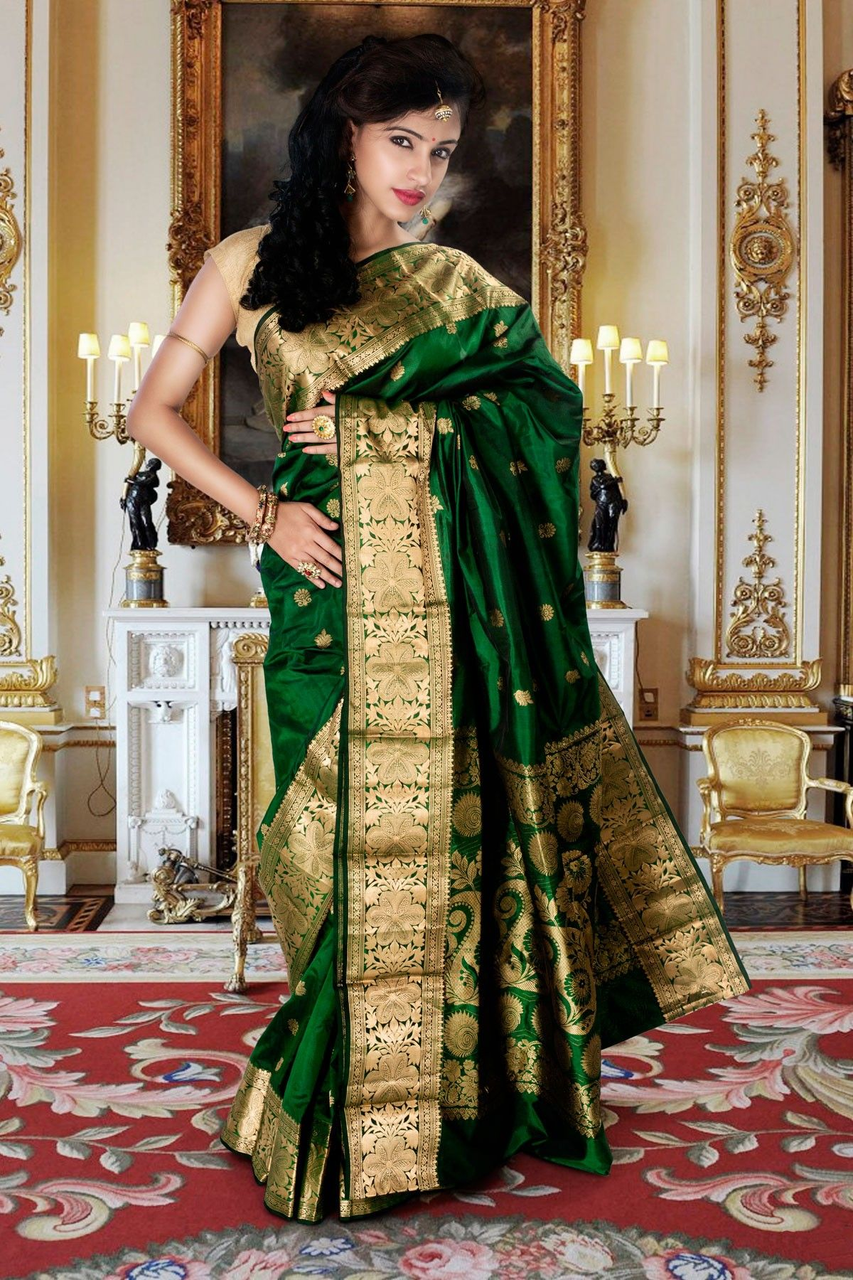 Yeola paithani saree images art silk green delightful saree with dark green u gold border