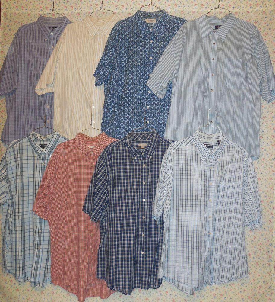 Lot Of 8 Mens Short Sleeve Dress Shirts Puritan Faded Glory
