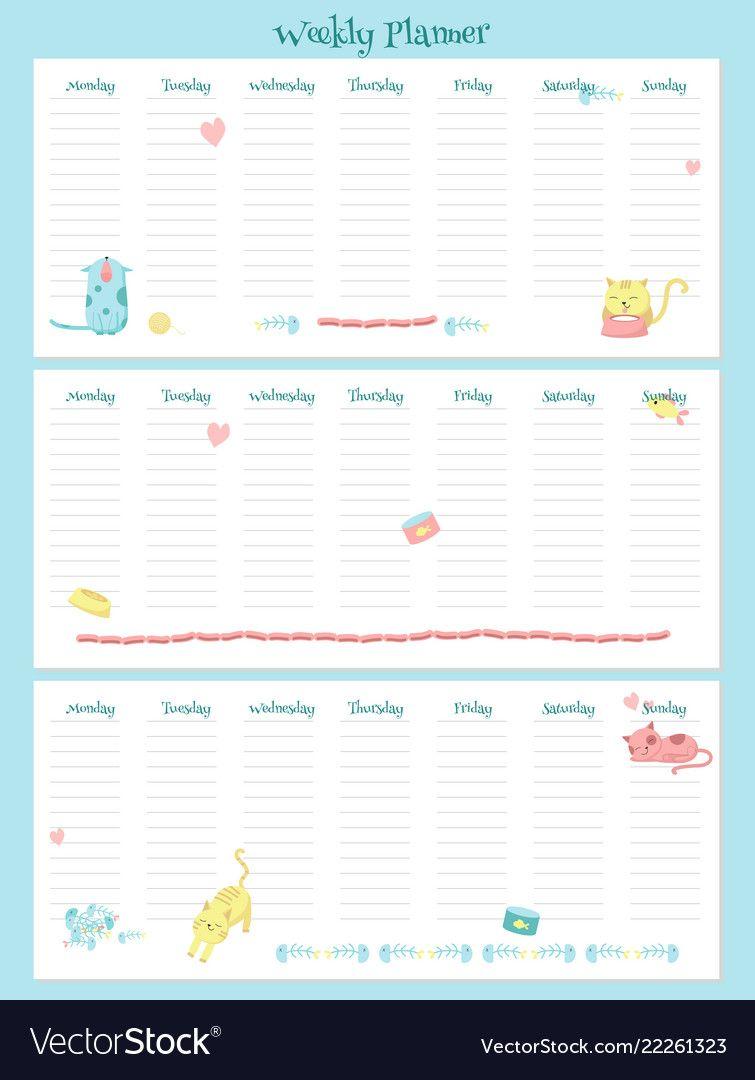 مخطط الجدول الأسبوعي Weekly planner template, Weekly