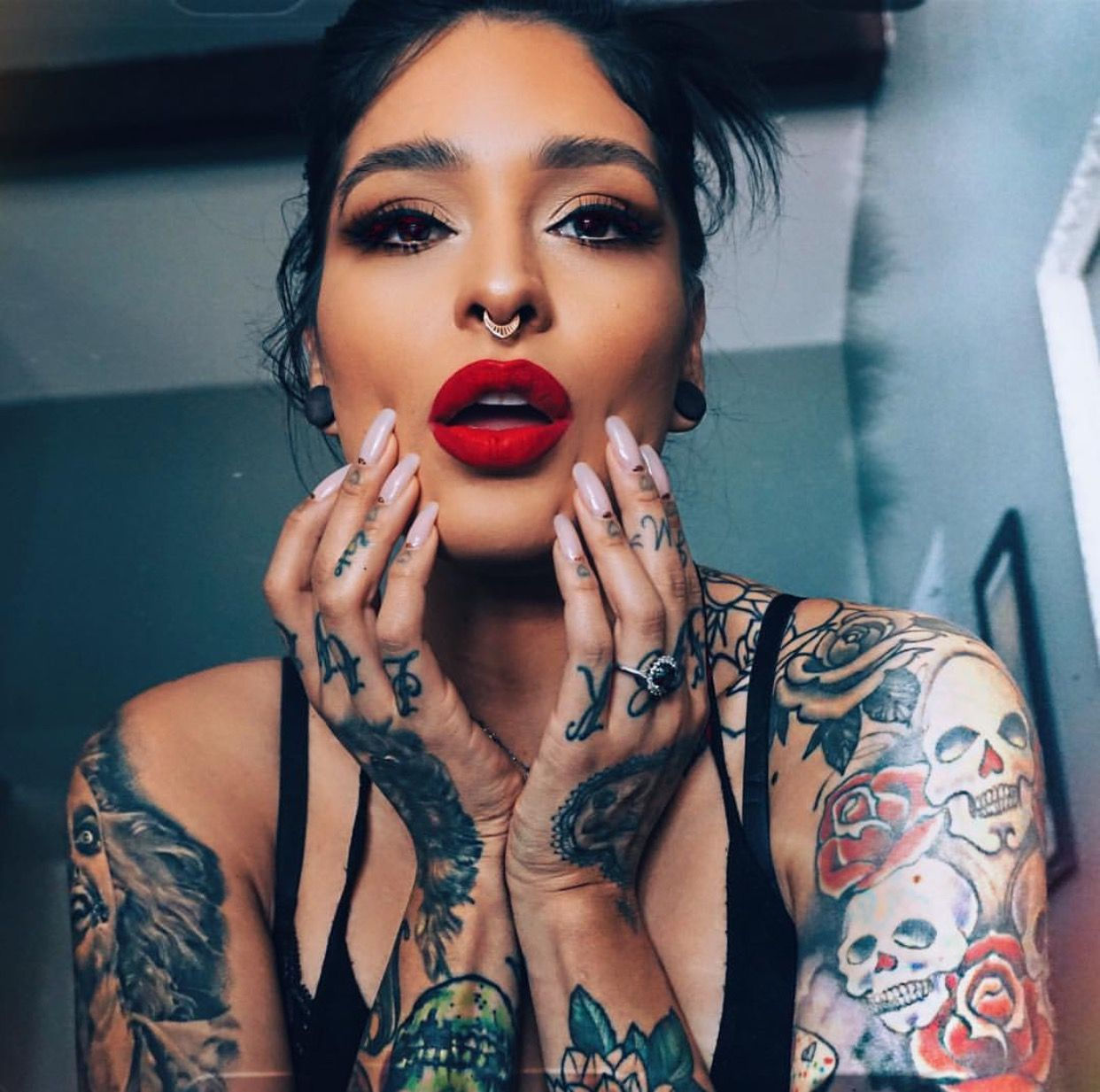 Hot Red Lips Tattoo