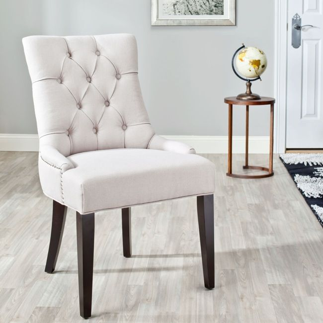 Marseille Beige Linen Nailhead Dining Chairs On O Dining Chairs
