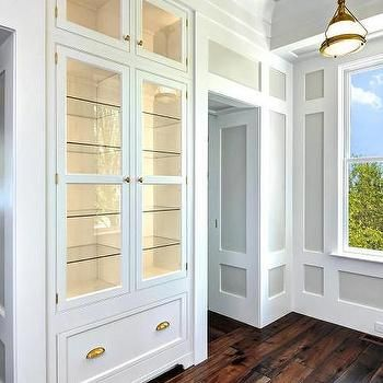 Cottage Dining Room With Built In China Cabinet Glass Shelves