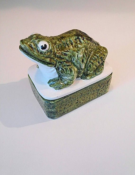 Vintage Frog Trinket Jewelry Box Handmade in Italy Green Hand Etsy