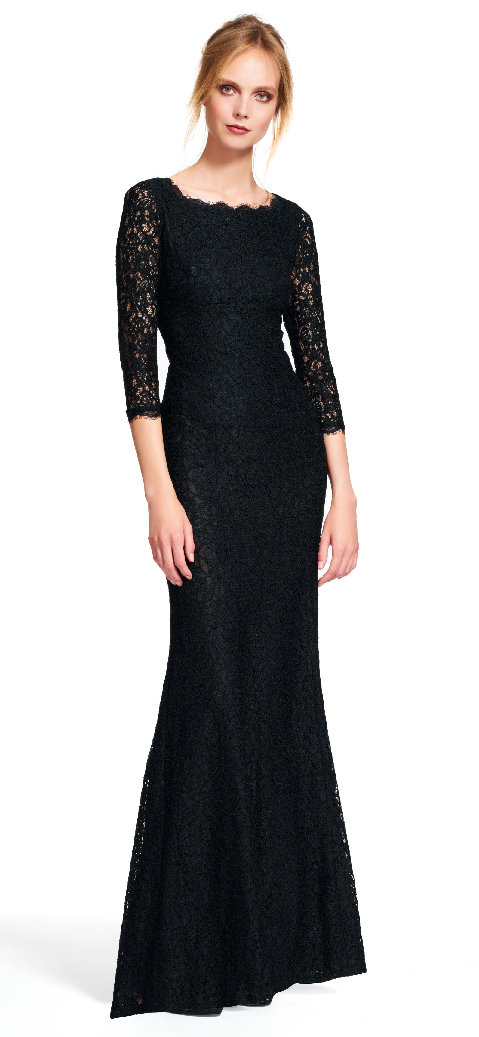 Adrianna Papell lace mermaid gown with three quarter sleeves ...
