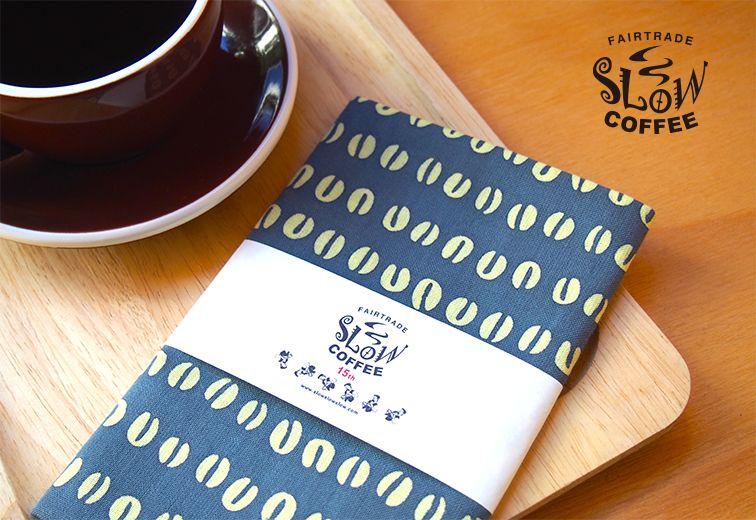 かまわぬ × SlowCoffee 別注コーヒー豆柄手拭 / SLOW COFFEE スローコーヒー | 雑貨 植物 | Abby Life エスプレッソのある生活 | エシカル, フェアトレード, オーガニック, デザインアイテム通販サイト