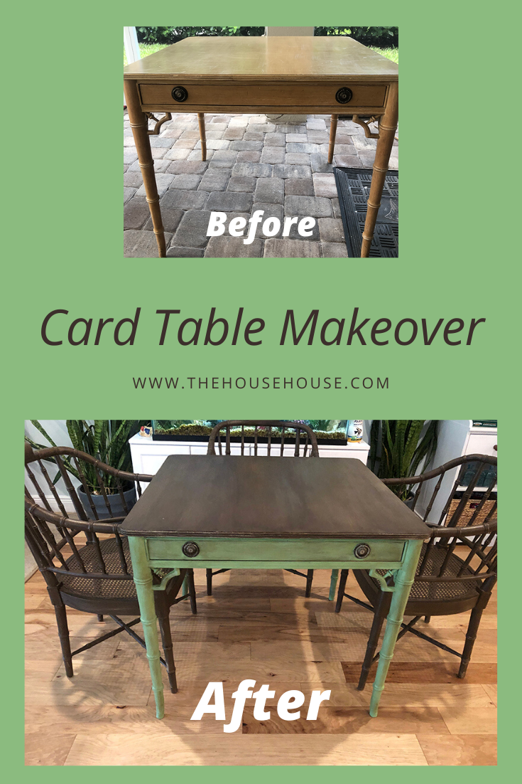 Thrift Store Challenge Tropical Card Table The House House Card Table Makeover Furniture Makeover Diy Diy Home Decor Projects