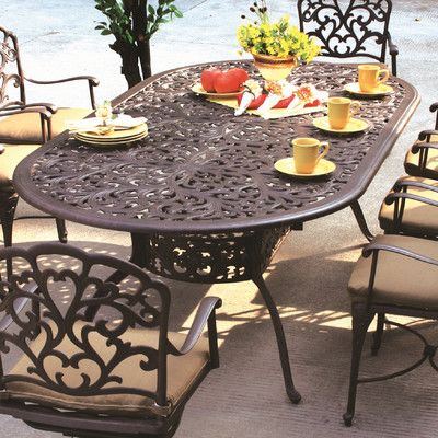 Astoria Grand Fairmont Metal Dining Table Cast Aluminum Patio