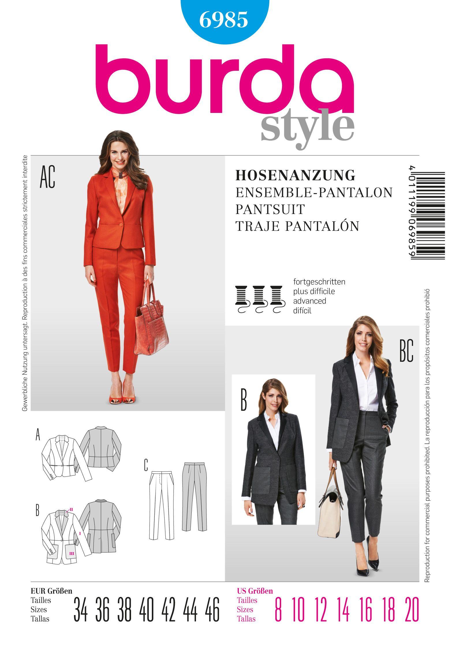 Burda Pantsuit 6985 | Sewing: Patterns and Tips | Sewing patterns ...
