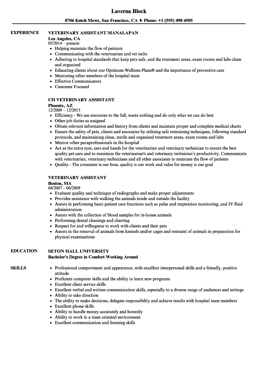 Veterinary Assistant Resume Resume Examples Receptionist Jobs Job Resume Examples