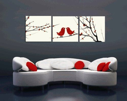 Gallery Canvas Art 3 Panels Red Love Birds Picture Home Decoration Painting Canvas Print Framed Wall Art Ready To H Flower Canvas Art Canvas Art Bird Wall Art