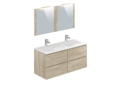 meuble salle de bain double vasque couleur bois colonne salle de