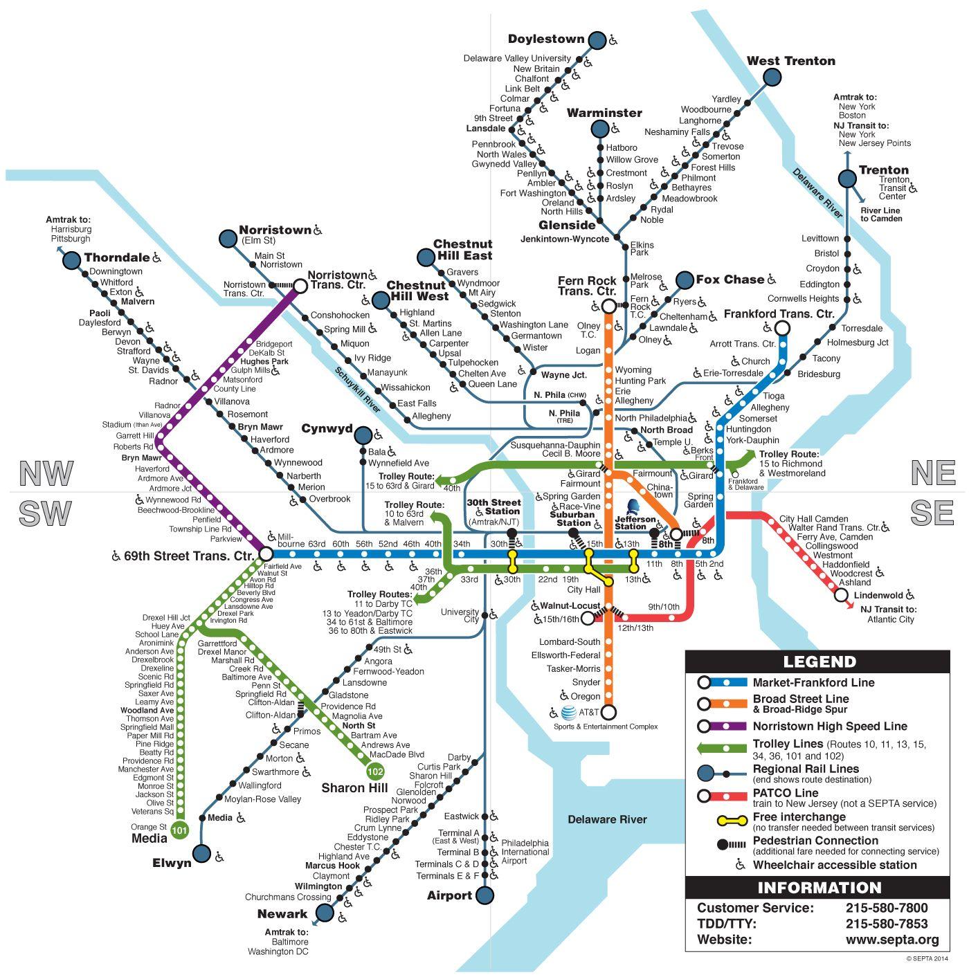 SEPTA Clickable Regional Rail Rail Transit Map Philadelphia