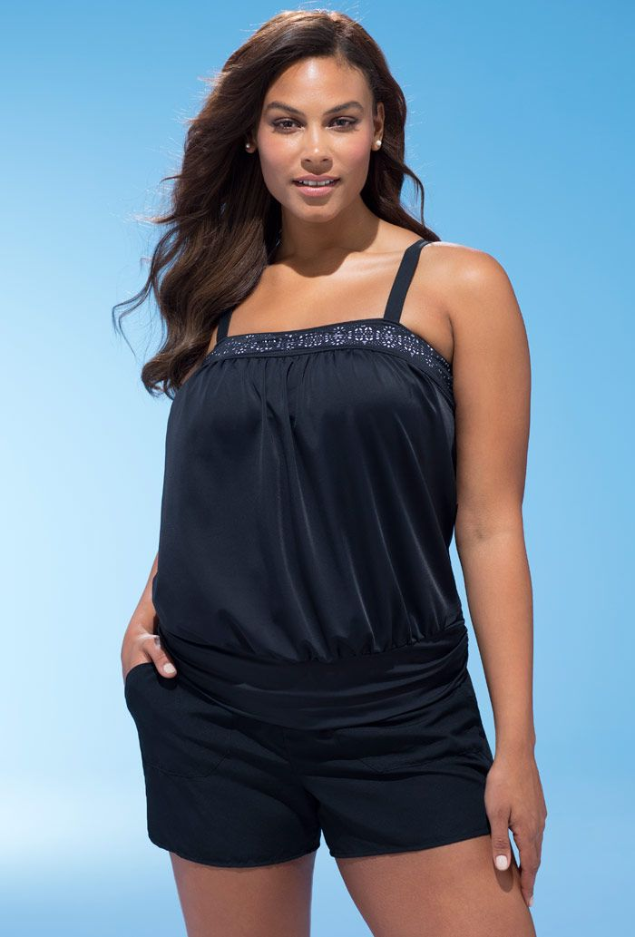 e7b26dedc Beach Belle Rendezvous Blouson Cargo Plus Size Shortini