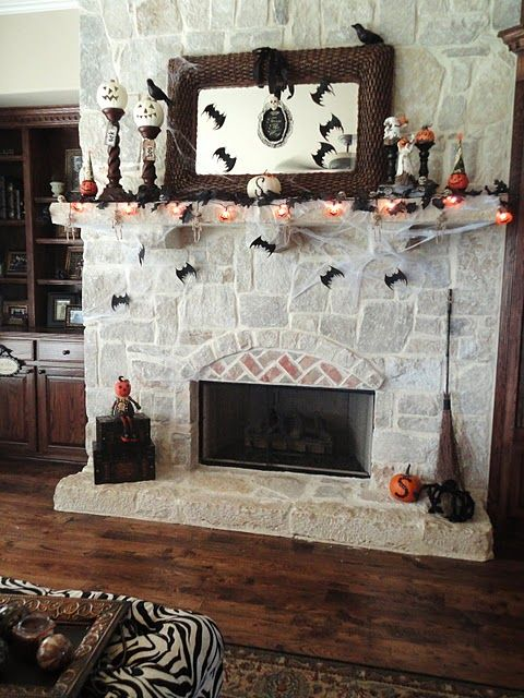 Holy Halloween Mantels Batman Pumpkins, Fireplaces and The fireplace