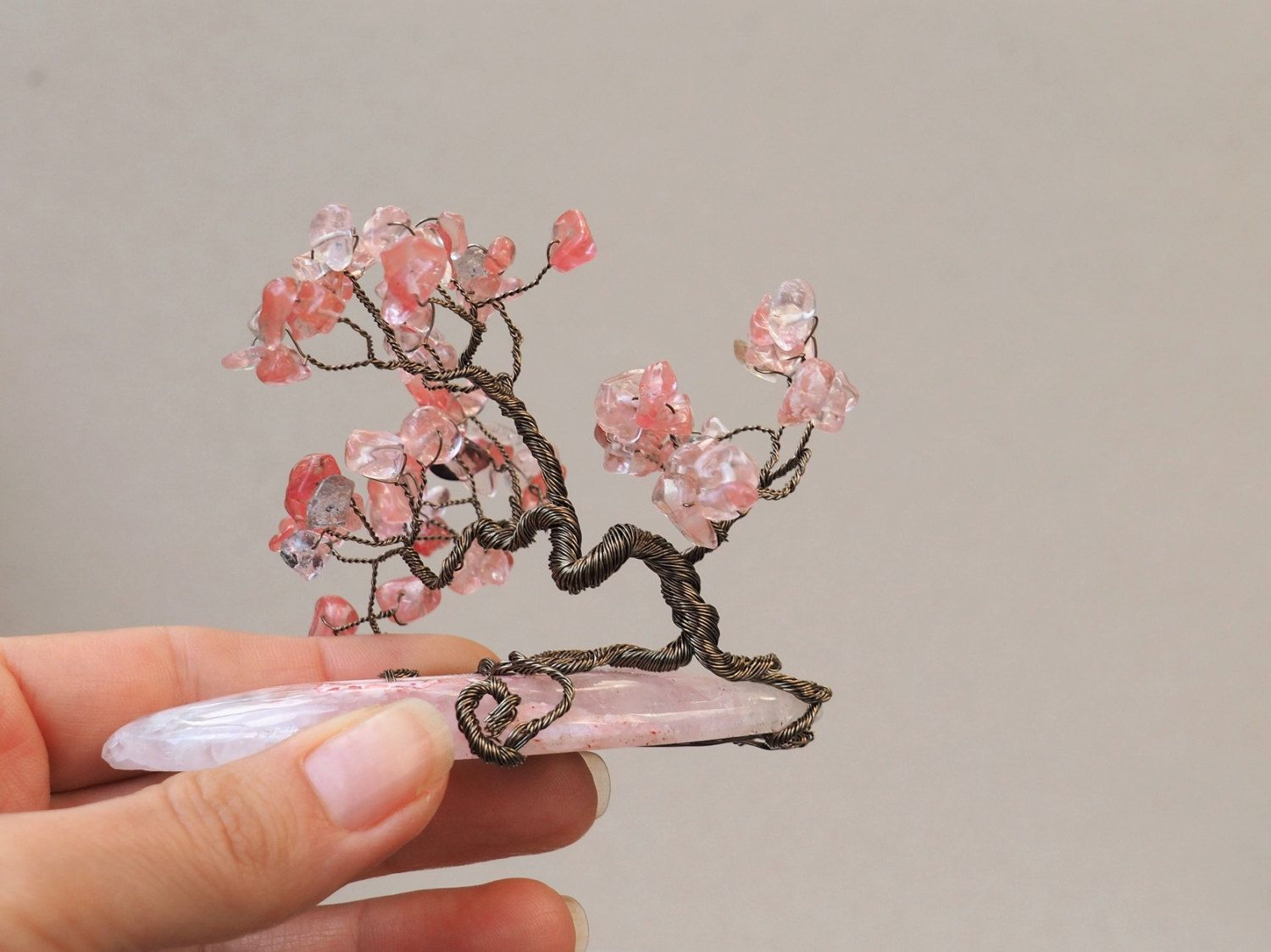 Wire Bonsai/Gifts under 40/Pink tree/Wire Tree/Tree of Life/Wire tree sculpture/Miniature tree/New year's gift/Gemstone tree of life/Zen by Ianira on Etsy