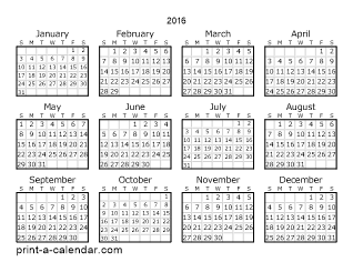 one year calendar on one page