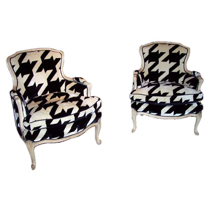 Pair Washed Pine Upholstered Bergeres 1stdibs Com Houndstooth