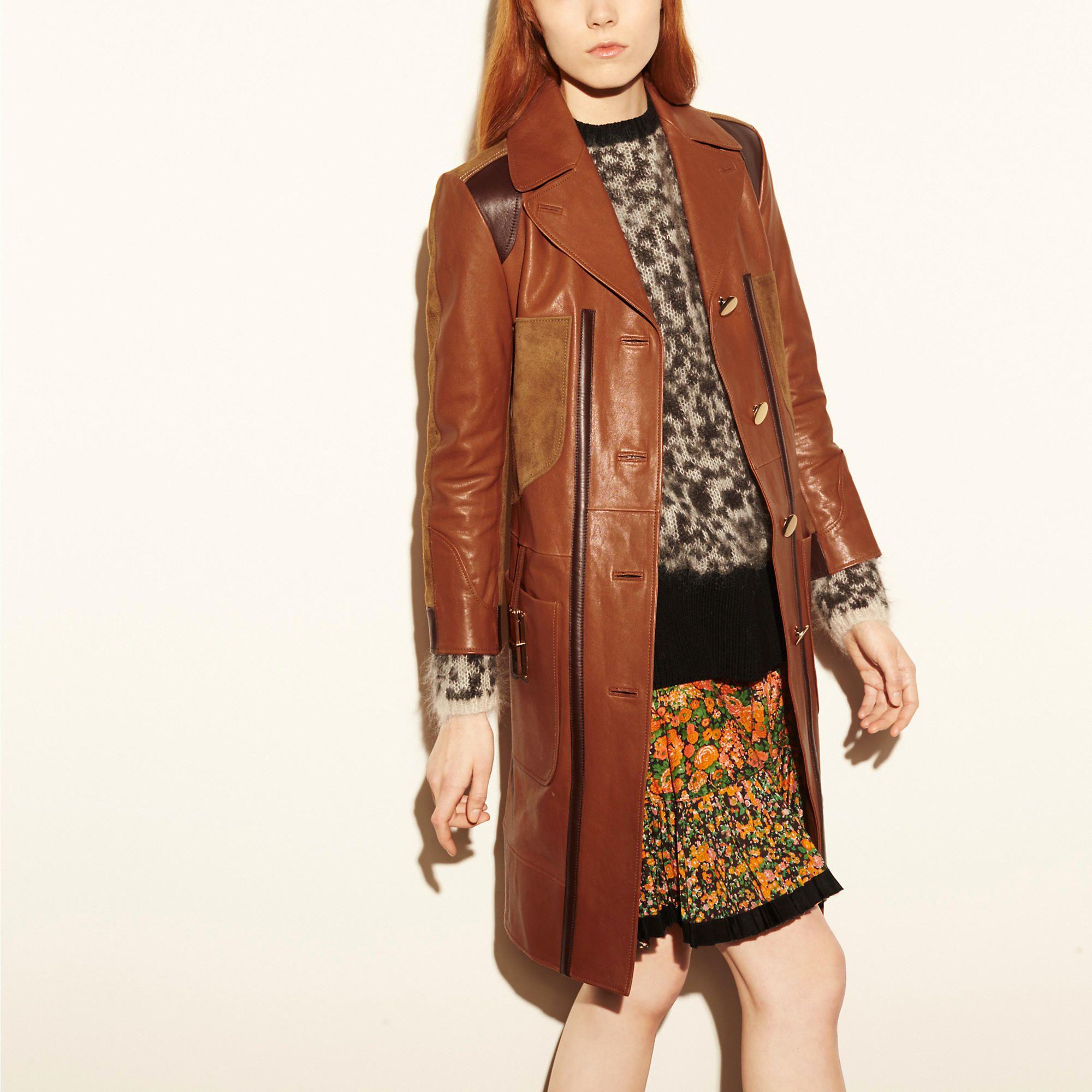 COACH 1941 Combo Leather Coat Women's Outerwear