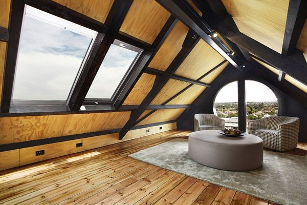Remarkable Church Conversion In Melbourne Attic Renovation Attic Living Rooms Contemporary Family Rooms