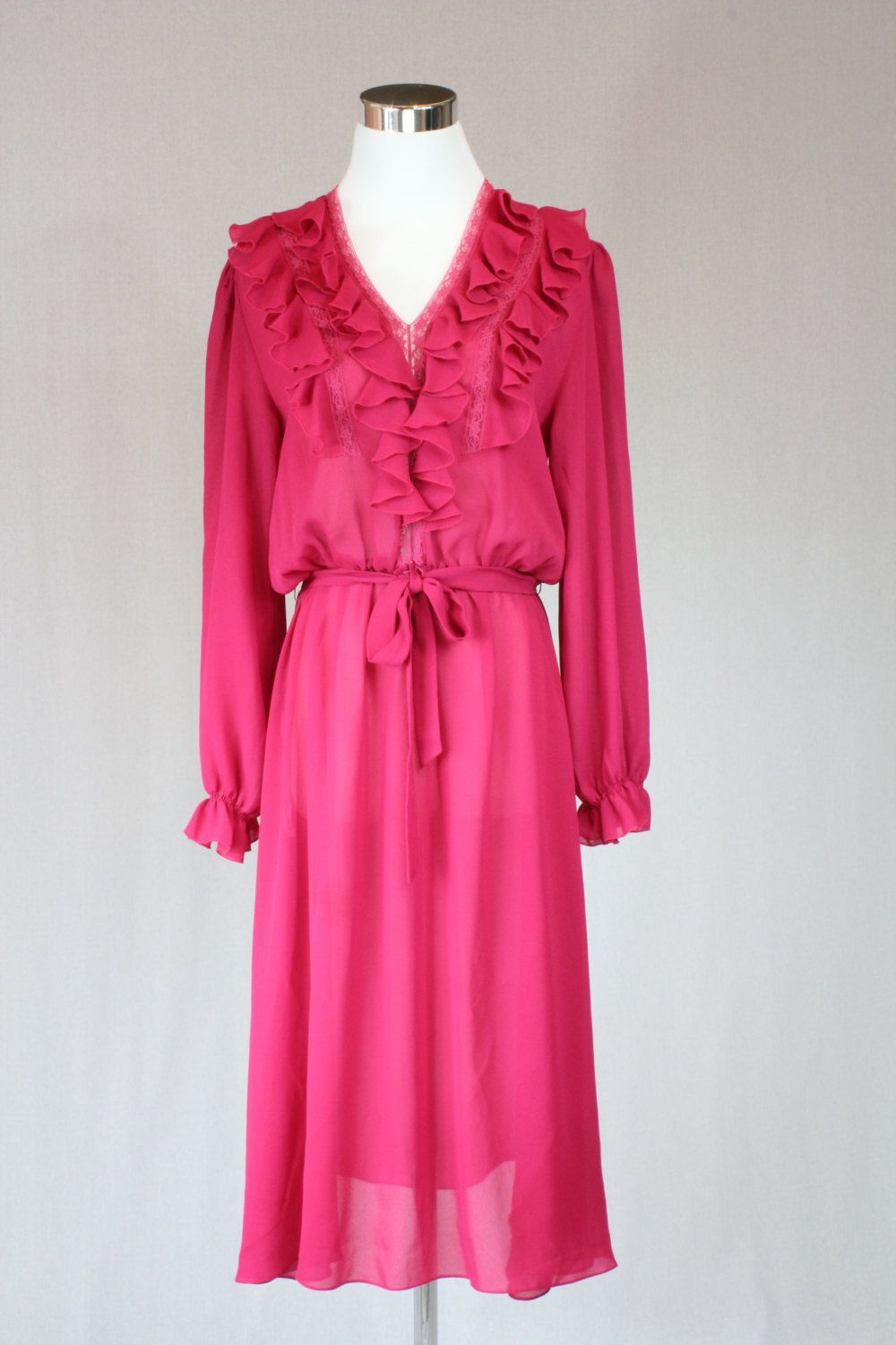 Vintage 60s raspberry pink chiffon cocktail dress / silky dress ...