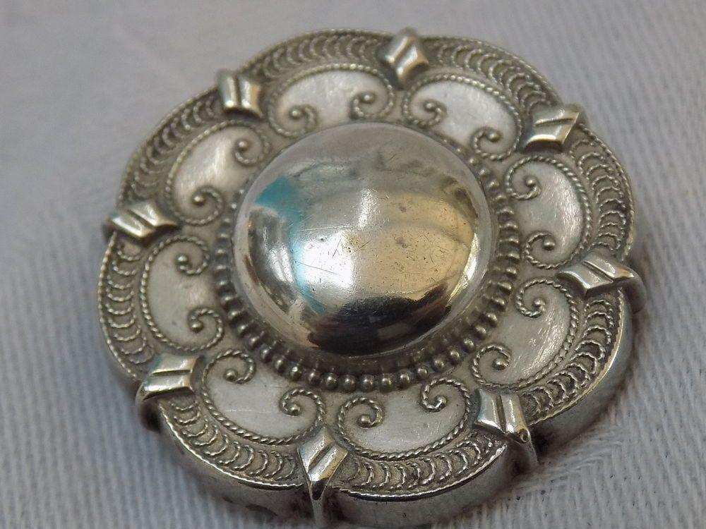 Antique Victorian Solid Silver Embossed DecorativeTarget Brooch Circa 1890s 5.6g